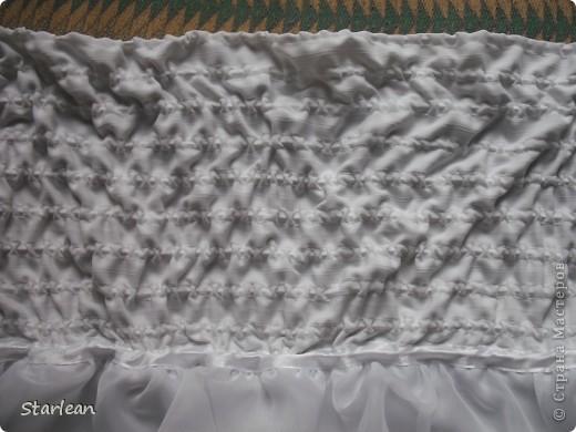 Вообще я не умею шить, если только что-то прострочить. но как получилось это платье, сама удивляюсь. Нам понадобится: ткань для топа - сорочечная (похожа на стрейч) ткань для юбки - сорочечная (хлопок), органза (у меня были обрезки от штор), косая бейка резинка шляпная, тонкая фото 13