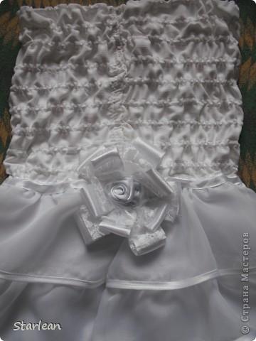 Вообще я не умею шить, если только что-то прострочить. но как получилось это платье, сама удивляюсь. Нам понадобится: ткань для топа - сорочечная (похожа на стрейч) ткань для юбки - сорочечная (хлопок), органза (у меня были обрезки от штор), косая бейка резинка шляпная, тонкая фото 16