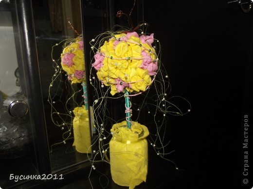 Розовое деревцо из салфеток для уборки)))) фото 1