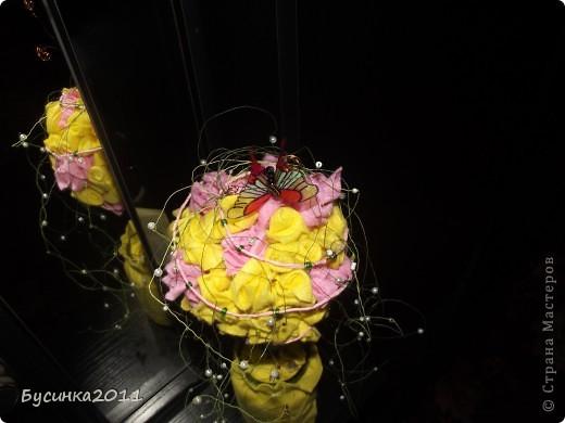 Розовое деревцо из салфеток для уборки)))) фото 2