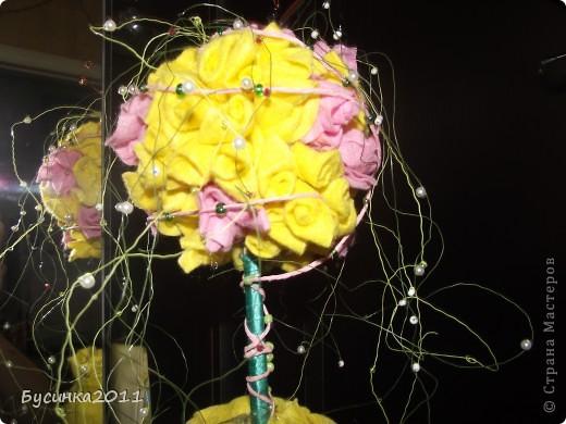 Розовое деревцо из салфеток для уборки)))) фото 3