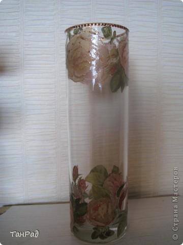 Декупаж стеклянной вазы. Это то, что получилось. фото 1