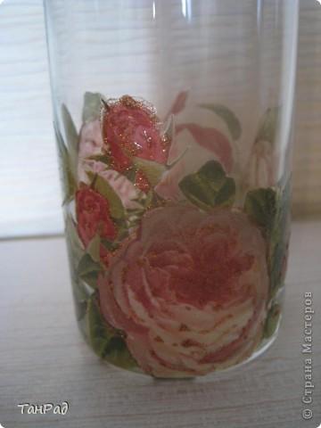 Декупаж стеклянной вазы. Это то, что получилось. фото 2