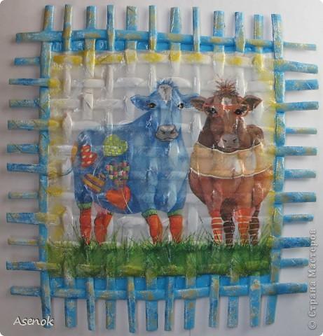 Сегодня у меня не много совсем :) Всего две плетенки... осталось еще две сделать, чтобы завершить то что задумано по плану :) Ну а пока вот такие забавные представители коровьего семейства :) фото 1