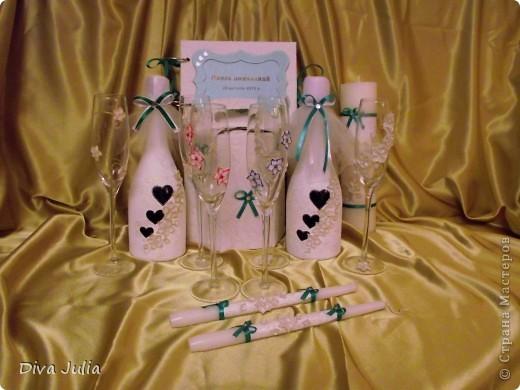Свадебный набор. Пожелание невесты, чтобы ленточка была бирюзовая под пригласительные, и много-много белого цвета. Еще будет свадебная рамочка, выложу позже фото 2