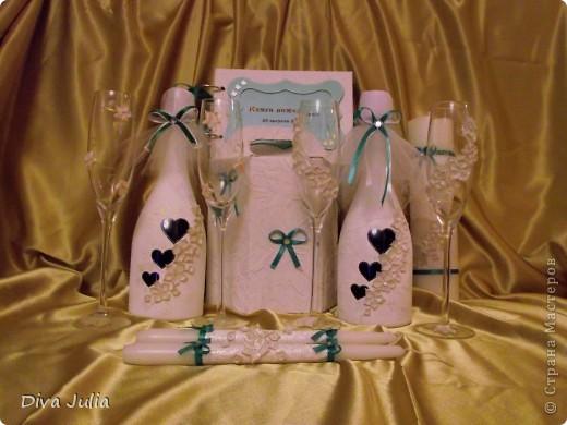 Свадебный набор. Пожелание невесты, чтобы ленточка была бирюзовая под пригласительные, и много-много белого цвета. Еще будет свадебная рамочка, выложу позже фото 1