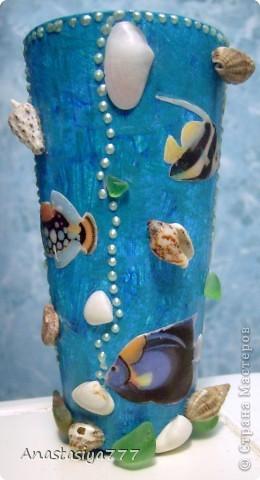 Ванна у меня в морском стиле, вот решила стаканчик в тему сделать:)))))))) по-моему мило получилось, рыбки класс! тропические:))))) использовала 3D-гель фото 1