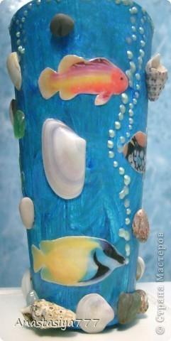 Ванна у меня в морском стиле, вот решила стаканчик в тему сделать:)))))))) по-моему мило получилось, рыбки класс! тропические:))))) использовала 3D-гель фото 3
