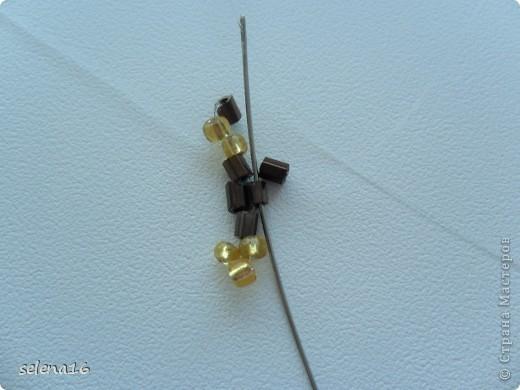 Золотистый бисер №10 и рубка шоколадного цвета. фото 11