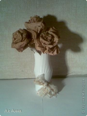 Сделала из кленовых листьев вместе с дочкой. Вазочка из пластиковой бутылки. фото 1