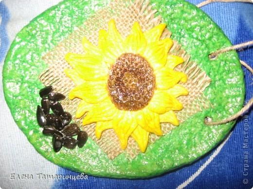 Мои три панно. Основа из папье-маше, мешковина, семечки настоящие и подсолнухи из соленого теста. фото 3