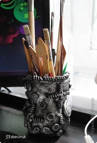 Стала опрокидываться моя плетеная корзинка из икеа, поэтому срочно пришлось ваять карандашницу...  фото 1
