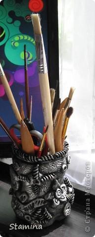 Стала опрокидываться моя плетеная корзинка из икеа, поэтому срочно пришлось ваять карандашницу...  фото 2