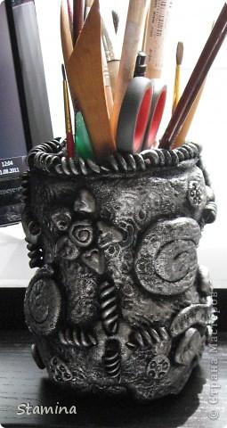 Стала опрокидываться моя плетеная корзинка из икеа, поэтому срочно пришлось ваять карандашницу...  фото 3