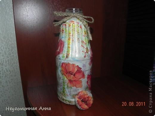 Вот такая бутылочка у меня родилась. Салфетки, шпатлёвка, перламутровая краска на всю бутылочку (и на салфетки в том числе), лак. фото 7