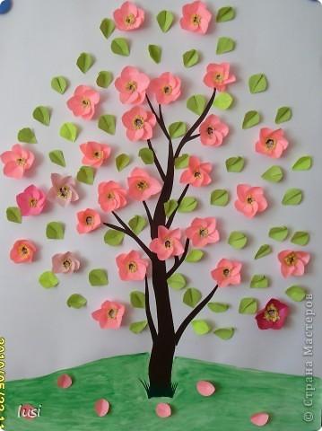 Вот такая яблоня появилась в мае  у моих четвероклассников.  В центр цветка каждый приклеил своё фото.