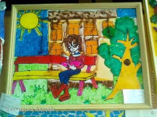 Эту работу, витраж, она делала для садика на конкурс и выиграла.... )))))) фото 1