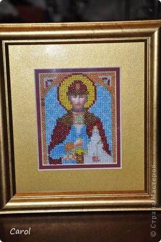 Икона Дмитрий (В честь Дмитрия Донского). Вышивка бисером. Лик и руки напечатаны на холсте. фото 2