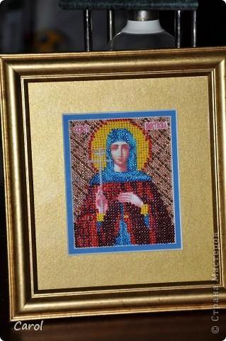 Икона Дмитрий (В честь Дмитрия Донского). Вышивка бисером. Лик и руки напечатаны на холсте. фото 3