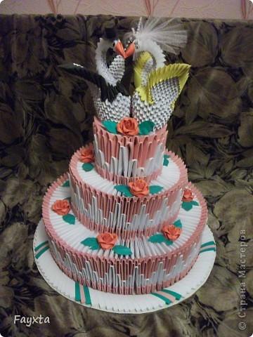 Вот и моя первая работа, спс sveta_psj Такой тортик у себя на свадьбе хочу разыграть в аукционе)) фото 1
