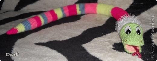 вот такая вот змея получилась из остатков пряжи (длина 82 см.) фото 2