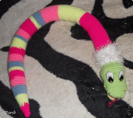 вот такая вот змея получилась из остатков пряжи (длина 82 см.) фото 3