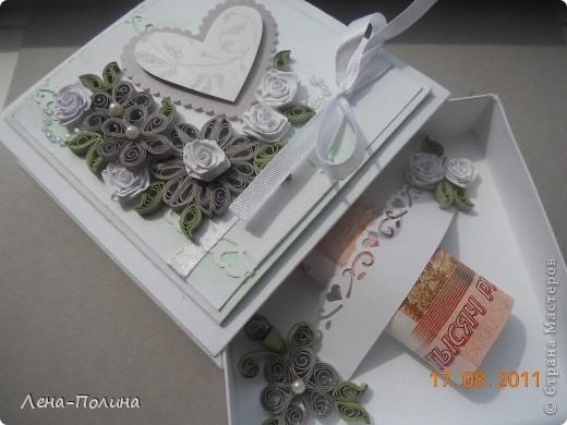 Впереди сентябрь и у нас сразу две свадьбы, но очень далеко территориально. Коробочка поедет в Башкирию, а открытка в Новосибирскую область. Решила опробывать скрапбукинг, результат понравился, а процесс еще больше.  фото 3