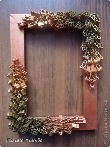 Рамка для фото, декорированная макаронами. фото 1