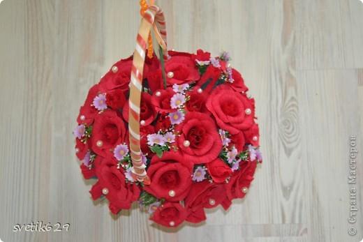 Моя первая сладкая корзиночка роз сделана в подарок на День рождение подружке. фото 5
