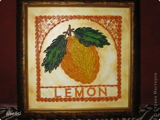 """Добрый день! Хочу показать работу, которую делала ещё весной. В магазине приглянулась картинка с изображением лимона. Понравилась рамка и фон. Захотелось сделать лимон в квиллинге. Сейчас спустя 5 месяцев я бы, наверное, сделала его по-другому. Постаралась бы использовать технику петельчатого квиллинга. Но тогда я о ней ещё ничего не знала. Для меня в этой работе случилось собственное открытие. Долго думала, как оформить надпись: подбирала тонкие тесёмки, шнурочки, бусинки, но всё не устраивало. Скрутила плотные роллы, попыталась приложить их рядом. Вроде бы маленькие, но не смотрелись. А потом случайно несколько из них """"встали"""" на бочок рядом. И тут я поняла, что это то, что мне нужно. Это теперь я знаю, что таким способом делают вазы, а тогда такое использование роллов было мне в новинку. Может я не права, но, по-моему, надписей в квиллинге  у мастериц я не видела. Может кому-то мой опыт пригодится. А может кто-то даст свои советы. Очень буду ждать. фото 1"""