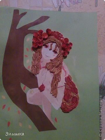 Моя первый опыт изготовления девушек в квиллинге. Картинку мне эту подарили несколько лет назад,и вот я нашла ей применение! фото 1