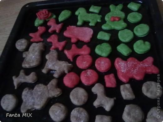 Хочу представить вам мое новое печенье.Я сделала его из песочного теста(вот  рецепт http://stranamasterov.ru/node/229255?c=favorite ,но я добавила чуть больше муки),далее разделила на 4 части. Первую порцию я сделала красной с помощью пищевого красителя,вторую зеленой(тоже красителем),третий кусок сделала шоколадным из какао,а четвертый оставила белым.Затем раскатала пласты, взяла детские формочки для песка и вырезала печенье. фото 4