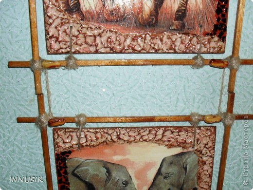 """Приветствую всех ко мне заглянул, гостей и пользователей  нашей Страны. Выставляю сегодня очередное панно """"Сафари"""". Признаю идея его изготовления была у меня давно, ждала салфеточку со слонами и вот... ГОТОВО!!! Здесь я продолжаю свои эксперименты со шпатлевкой))) фото 4"""