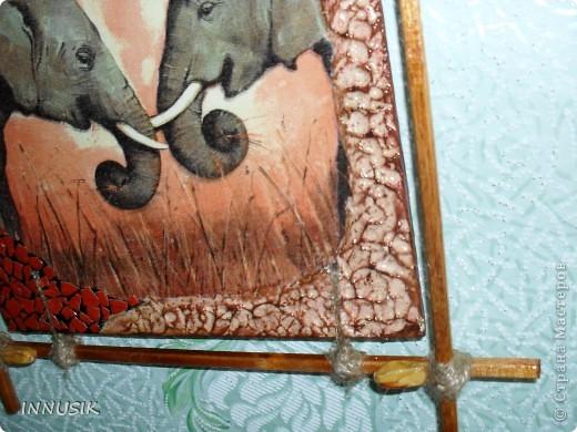 """Приветствую всех ко мне заглянул, гостей и пользователей  нашей Страны. Выставляю сегодня очередное панно """"Сафари"""". Признаю идея его изготовления была у меня давно, ждала салфеточку со слонами и вот... ГОТОВО!!! Здесь я продолжаю свои эксперименты со шпатлевкой))) фото 6"""
