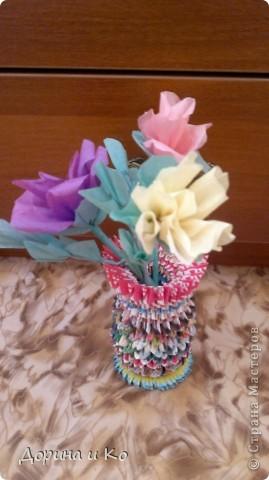 Пробовала работать с бумагой (больше привычно шить и вязать). Первые цветы. фото 4