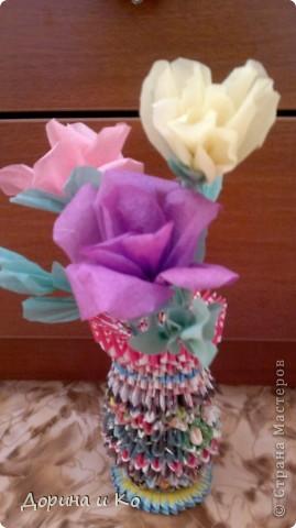 Пробовала работать с бумагой (больше привычно шить и вязать). Первые цветы. фото 5