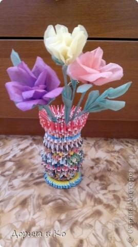 Пробовала работать с бумагой (больше привычно шить и вязать). Первые цветы. фото 3