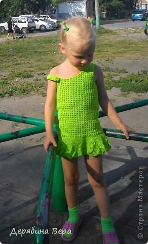 К концу лета довязала дочке сарафан.  фото 2