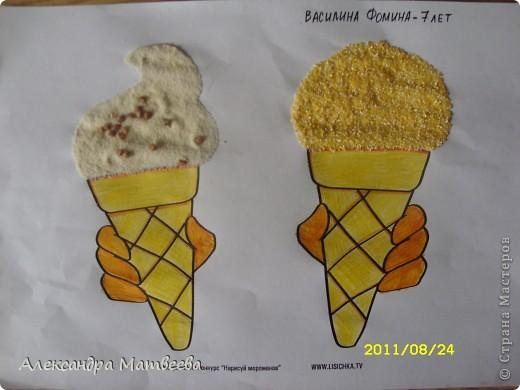 Вот такое лимонное и ванильное с шоколадной крошкой мороженое получилось у дочки...лимонное-кукурузная крупа, ванильное-манная.