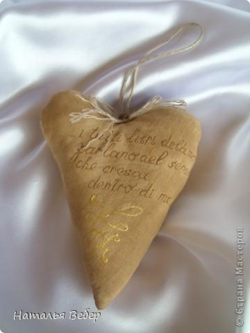 Текстильные ароматические сердца,а-ля в чердачном стиле. Сшиты из бязи,наполнение синтепух,пропитаны смесью кофе+корица+ваниль.Длина около 20см и около 10см. фото 2