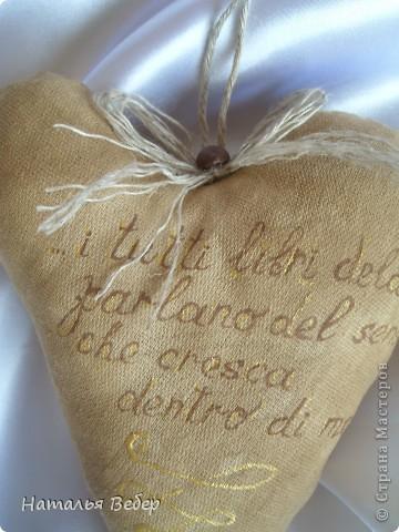 Текстильные ароматические сердца,а-ля в чердачном стиле. Сшиты из бязи,наполнение синтепух,пропитаны смесью кофе+корица+ваниль.Длина около 20см и около 10см. фото 3