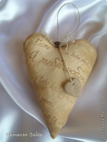 Текстильные ароматические сердца,а-ля в чердачном стиле. Сшиты из бязи,наполнение синтепух,пропитаны смесью кофе+корица+ваниль.Длина около 20см и около 10см. фото 7