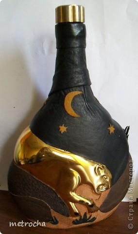 Декор предметов Бутылка Прыжок в ночи Бутылки стеклянные Клей Кожа