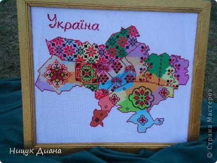 Вот такие две картины 1м / 1м, сделала я с своими коллегами по работе в честь 20-летия Независимости Украины. Аппликация на сетке. фото 8