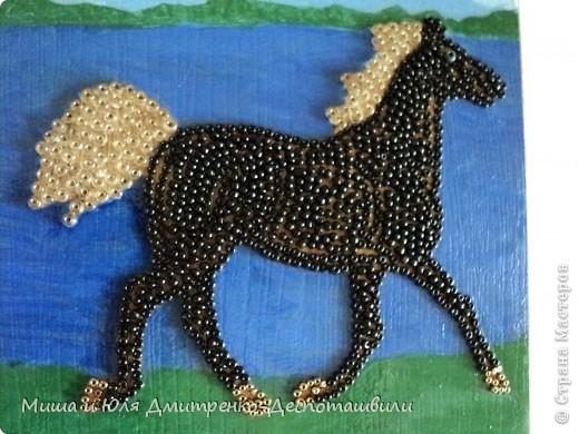 И снова картина выложенная бисером на клеевой основе. Фон нарисован мною масляными красками. На этот раз родилась лошадь. Навеяно песней Владимира Высоцкого, ссылку на которую даю ниже. Да и вообще - ЛЮБЛЮ Я СВОБОДНЫХ ЛОШАДЕЙ !  фото 2
