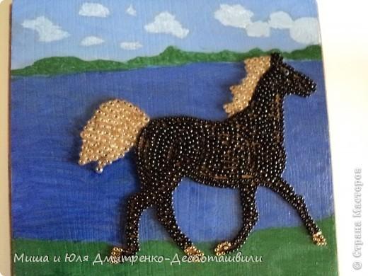 И снова картина выложенная бисером на клеевой основе. Фон нарисован мною масляными красками. На этот раз родилась лошадь. Навеяно песней Владимира Высоцкого, ссылку на которую даю ниже. Да и вообще - ЛЮБЛЮ Я СВОБОДНЫХ ЛОШАДЕЙ !  фото 1