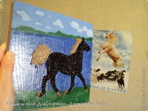 И снова картина выложенная бисером на клеевой основе. Фон нарисован мною масляными красками. На этот раз родилась лошадь. Навеяно песней Владимира Высоцкого, ссылку на которую даю ниже. Да и вообще - ЛЮБЛЮ Я СВОБОДНЫХ ЛОШАДЕЙ !  фото 3