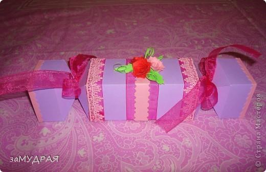 """Эта """"конфетка"""" коробочка моя повторюшка. К сожалению имя автора не запомнила ((( Надеюсь что она будет не против.   Очень благодарна ей за идею !!!!! фото 3"""