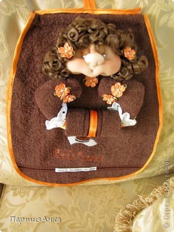 Привет, Страна! Как и обещала, выставляю полотенниц в кофейной гамме. Основа на этот раз - полотенца из махры, а не пикейные. фото 7