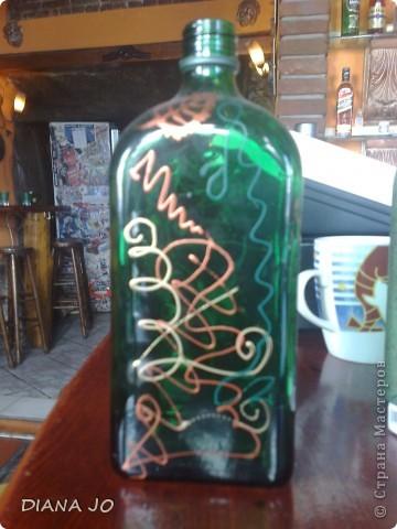 мои первые росписные бутылочки делала их еще в прошлом году фото 4